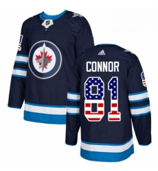 Mens Adidas Winnipeg Jets 81 Kyle Connor Authentic Navy Blue USA Flag Fashion NHL Jersey