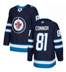 Mens Adidas Winnipeg Jets 81 Kyle Connor Premier Navy Blue Home NHL Jersey
