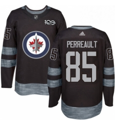 Mens Adidas Winnipeg Jets 85 Mathieu Perreault Authentic Black 1917 2017 100th Anniversary NHL Jersey