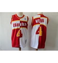 Hawks 4 Spud Webb Red Whhite 1986 87 Hardwood Classics Jersey
