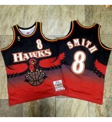 Hawks 8 Steve Smith Red 1996 97 Hardwood Classics Jersey