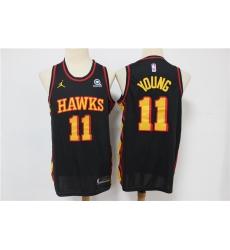 Men Atlanta Hawks Trae Young 11 Black 2020 21 Nike Black City Edition Swingman Jordan Brand Jersey
