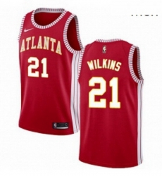 Mens Nike Atlanta Hawks 21 Dominique Wilkins Authentic Red NBA Jersey Statement Edition