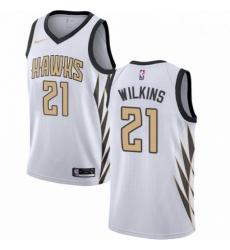 Mens Nike Atlanta Hawks 21 Dominique Wilkins Swingman White NBA Jersey City Edition