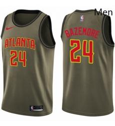 Mens Nike Atlanta Hawks 24 Kent Bazemore Swingman Green Salute to Service NBA Jersey