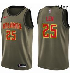 Mens Nike Atlanta Hawks 25 Alex Len Swingman Green Salute to Service NBA Jersey