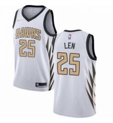 Mens Nike Atlanta Hawks 25 Alex Len Swingman White NBA Jersey City Edition