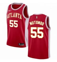 Mens Nike Atlanta Hawks 55 Dikembe Mutombo Swingman Red NBA Jersey Statement Edition