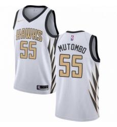 Mens Nike Atlanta Hawks 55 Dikembe Mutombo Swingman White NBA Jersey City Edition