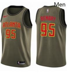 Mens Nike Atlanta Hawks 95 DeAndre Bembry Swingman Green Salute to Service NBA Jersey