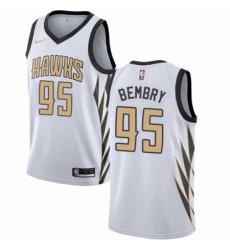 Mens Nike Atlanta Hawks 95 DeAndre Bembry Swingman White NBA Jersey City Edition