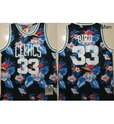 Celtics Bape 33 Larry Bird Black 1985 86 Hardwood Classics Floral Fashion Swingman Jersey