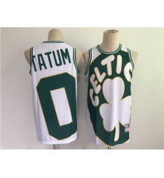Men Men Boston Celtics 0 Jayson Tatum White and Green Big Face Throwback Stitched Jers