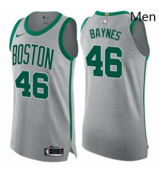 Mens Nike Boston Celtics 46 Aron Baynes Authentic Gray NBA Jersey City Edition
