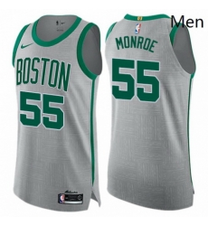 Mens Nike Boston Celtics 55 Greg Monroe Authentic Gray NBA Jersey City Edition