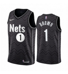 Men Brooklyn Nets 1 Bruce Brown Black NBA Swingman 2020 21 Earned Edition Jersey