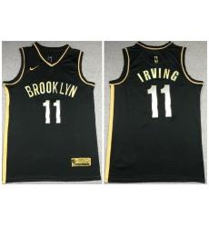 Men Brooklyn Nets 11 Kyrie Irving Black Gold 2021 Nike Swin