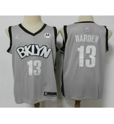 Men Brooklyn Nets 13 James Harden Light Grey 2021 Brand Jordan Swingman Stitched NBA Jersey With NEW Sponsor Logo