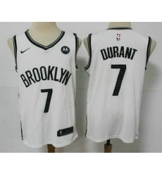Men Brooklyn Nets 7 Kevin Durant 2021 White Swingman Stitched NBA Jersey With The NEW Sponsor Logo