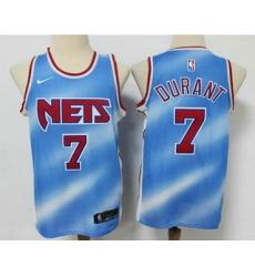 Men Brooklyn Nets 7 Kevin Durant Blue 2020 21 Hardwood Classics Stitched NBA Jersey