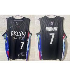 Men Brooklyn Nets 7 Kevin Durant NEW Black 2021 City Edition Swingman Stitched NBA Jersey