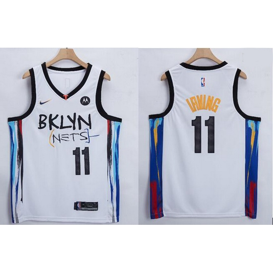 Men Brooklyn Nets Kyrie Irving 11 White 2021 Nike NBA Swingman Jersey
