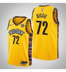 Men Nike 2019-20 Nets Biggie #72 City Jersey Yellow