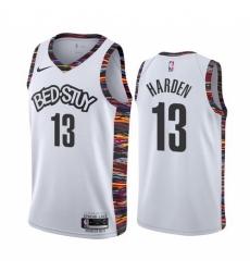 Men Nike Brooklyn Nets 13 James Harden Men 2019 20 White BED STUY City Edition Stitched NBA Jersey