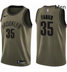 Mens Nike Brooklyn Nets 35 Kenneth Faried Swingman Green Salute to Service NBA Jersey