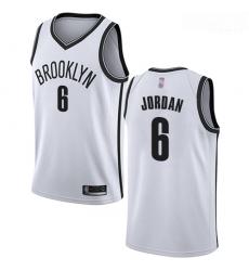 Nets #6 DeAndre Jordan White Basketball Swingman Association Edition Jersey