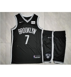 Nets 7 Kevin Durant Black Nike Swingman Jersey 28With Shorts