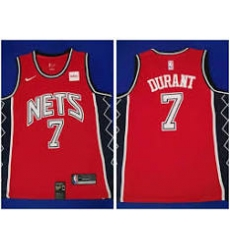 Nets 7 Kevin Durant classic red throwback jersey