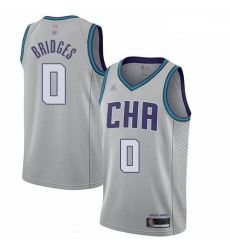 Hornets 0 Miles Bridges Gray Basketball Jordan Swingman City Edition 2019 20 Jersey