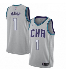 Hornets 1 Malik Monk Gray Basketball Jordan Swingman City Edition 2019 20 Jersey