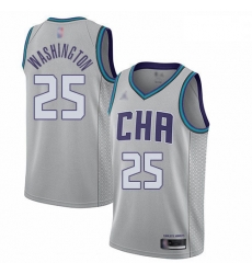 Hornets 25 PJ Washington Gray Basketball Jordan Swingman City Edition 2019 20 Jersey