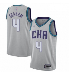 Hornets 4 Devonte Graham Gray Basketball Jordan Swingman City Edition 2019 20 Jersey