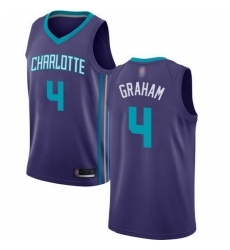 Hornets  4 Devonte Graham Purple Basketball Jordan Swingman Statement Edition Jersey