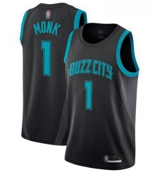 Men Black Malik Monk Men Jersey 1 Authentic Charlotte Hornets Basketball Jersey