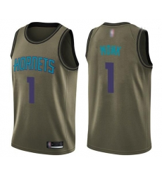 Men Green Malik Monk Men's Jersey 1 Swingman Charlotte Hornets Basketball Salute To Service
