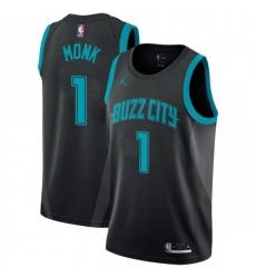 Men Nike Charlotte Hornets 1 Malik Monk Black NBA Jordan Swingman City Edition 2018 19 Jersey