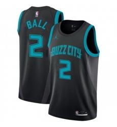 Men Nike Charlotte Hornets 2 LaMelo Ball Black NBA Jordan Swingman City Edition 2018 19 Jersey