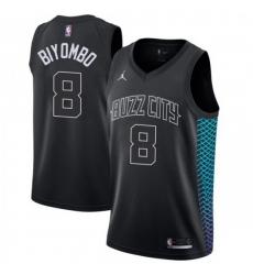 Men Nike Charlotte Hornets 8 Bismack Biyombo Black NBA Jordan Swingman City Edition Jersey