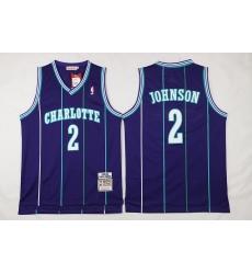 NBA Charlotte Hornets 2 Larry Johnson Throwback Soul Swingman Purple Jersey