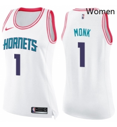 Womens Nike Charlotte Hornets 1 Malik Monk Swingman WhitePink Fashion NBA Jersey