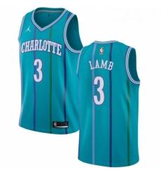 Womens Nike Jordan Charlotte Hornets 3 Jeremy Lamb Authentic Aqua Hardwood Classics NBA Jersey