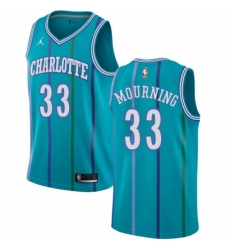 Womens Nike Jordan Charlotte Hornets 33 Alonzo Mourning Swingman Aqua Hardwood Classics NBA Jersey