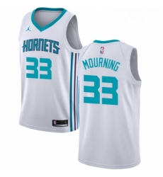 Womens Nike Jordan Charlotte Hornets 33 Alonzo Mourning Swingman White NBA Jersey Association Edition