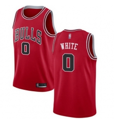 Bulls  0 Coby White Red Basketball Swingman Icon Edition Jersey