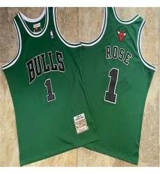 Bulls 1 Derrick Rose Green 2008 09 Hardwood Classics Jersey