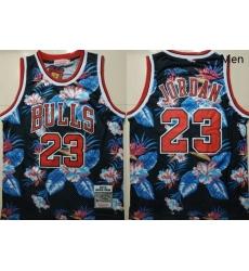 Bulls 23 Michael Jordan Black 1997 98 Hardwood Classics Floral Fashion Swingman Jersey